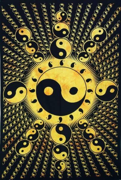 Ritualdecke Tagesdecke Wandbehang Yin Yang Gold / Schwarz - Normalgröße