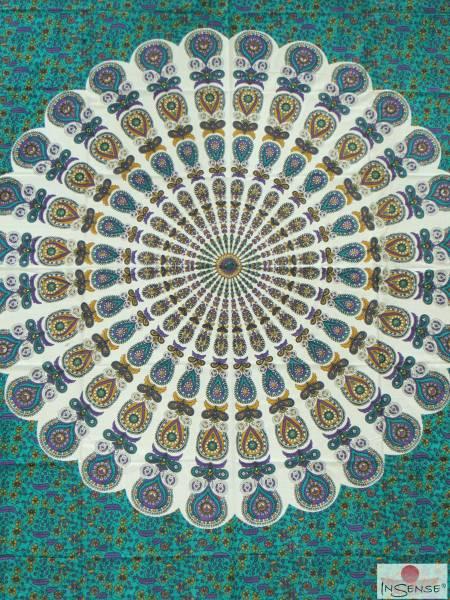 Ritualdecke - Fächer türkis-lila - Doppelt