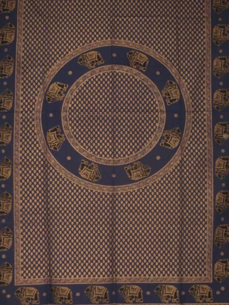 Ritualdecke - Elefanten Golddruck indigo - Doppelt