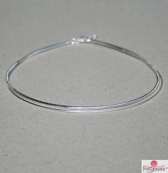 Omega-Reif - Silber rhodiniert, fein - 50 cm