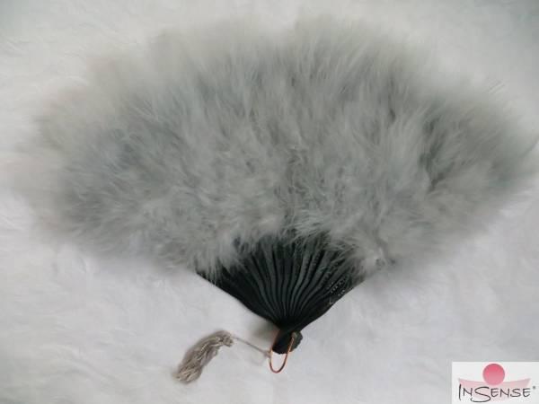 Flaumfeder-Fächer - silber