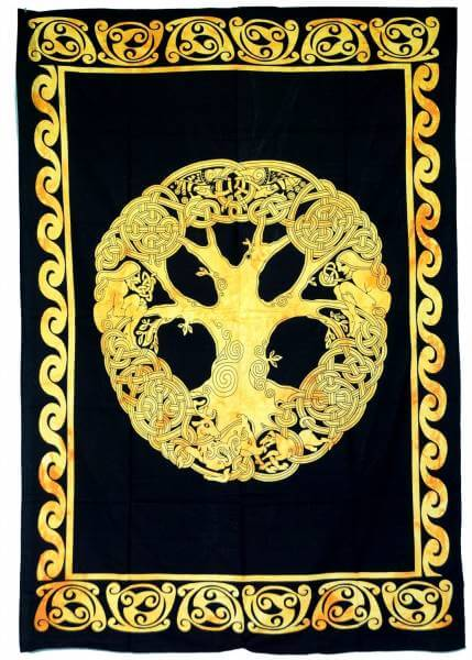 Ritualdecke Tagesdecke Wandbehang Lebensbaum Gold / Schwarz - Normalgröße