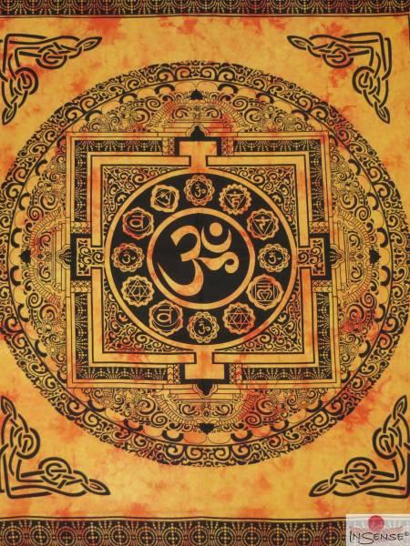 Ritualdecke - OM Mandala gelb - Doppelt