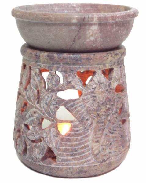 Duftlampe aus Speckstein - Rund Ganesha