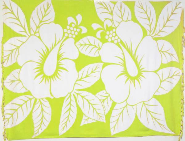 "Lunghi / Sarong ""Hibiscus"" Lime"