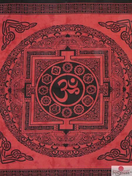 Ritualdecke - OM Mandala rot - Doppelt