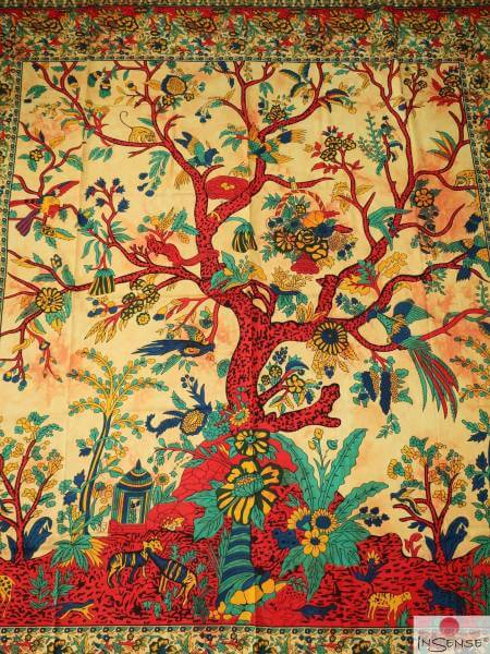 Ritualdecke - Tree of Life beige-gelb - Doppelt