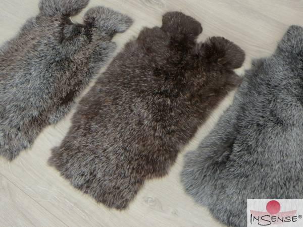 Kaninchenfell - schwarz-silber (L)