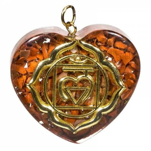 Orgonit Anhänger erstes Chakra herzförmig