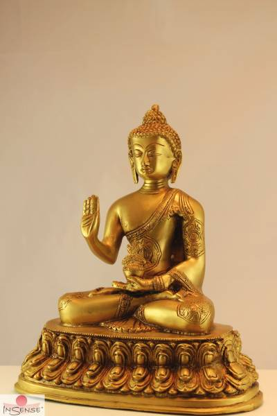 Buddha Amoghasiddi - Messing glänzend